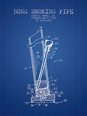 Smoking Digital Art - Bong Smoking Pipe Patent1980 - Blueprint by Aged Pixel