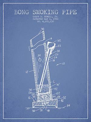 Bong Smoking Pipe Patent1980 - Light Blue Art Print by Aged Pixel