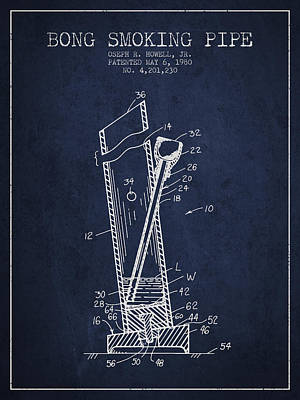 Weed Digital Art - Bong Smoking Pipe Patent1980 - Navy Blue by Aged Pixel