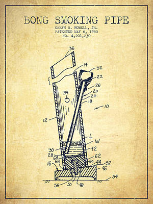 Book Quotes - Bong Smoking Pipe Patent1980 - Vintage by Aged Pixel