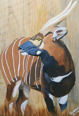 Bongo Painting - Bongo Antelope On Wood by Debbie LaFrance
