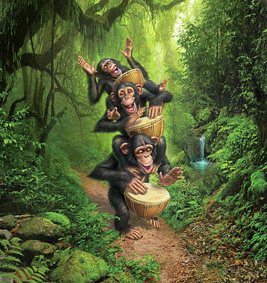 Chimpanzee Digital Art - Bongo In The Jungle by Mark Fredrickson