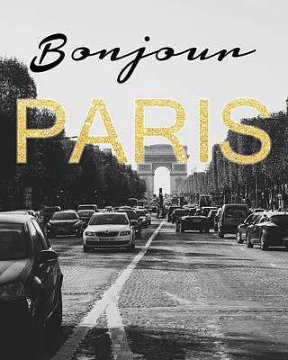 Black And White Art Mixed Media - Bonjour Paris by Pati Photography