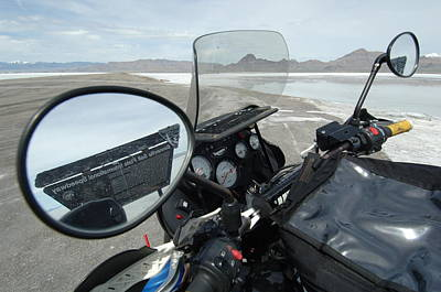 Bonneville Nationals Photograph - Bonneville Salt Flats As Seen Through Rearview Mirror by Ron Brown Photography