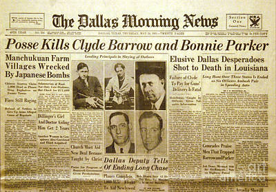 Bonnie And Clyde Photograph - Bonnie And Clyde Newspaper by Jon Neidert