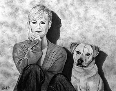Drawing - Bonnie Hunt And Charlie by Peter Piatt