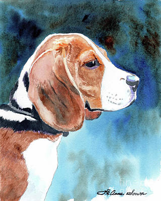 Painting -  Dog Painting, Beagle Painting, Dog Art, Beagle Art, Bonny Beagle by LeAnne Sowa
