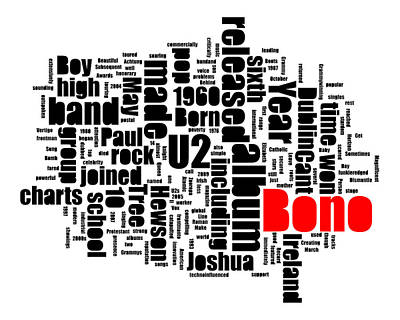 Bono Digital Art - Bono Bio-typography by Robert Johansson
