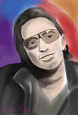 Bono Digital Art - Bono by Diana Riukas