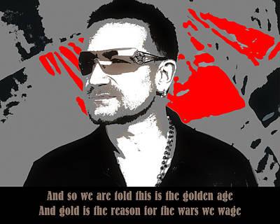 Lead Singer Digital Art - Bono New Year's Day by Robert Johansson