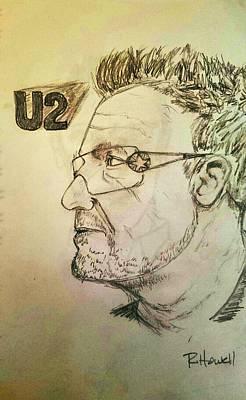 U2 Drawing - Bono by Richard Howell