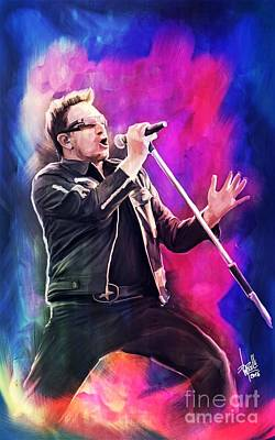 Bono Digital Art - Bono Vox  by Daniele Volpicelli