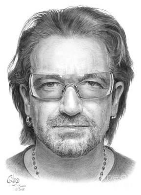 Bono Drawing - Bono Vox, Singer U2 Music Group by Vlado Ondo