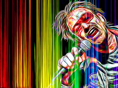 Bono Mixed Media - Bono Vox U2 In Color by Daniel Janda
