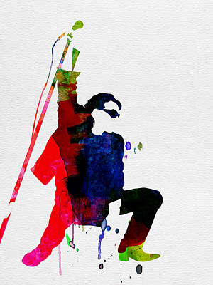 American Rock Star Painting - Bono Watercolor by Naxart Studio