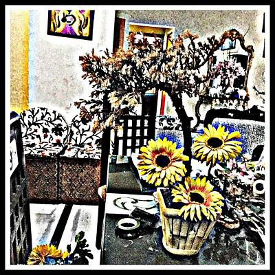 Bonsai And Sunflowers  Art Print by Jagjeet Kaur