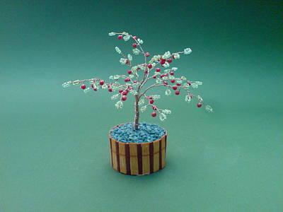 Ceramic Beads Sculpture - Bonsai Wire Tree Sculpture Beaded Apple      by Bujas Sinisa
