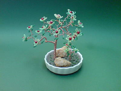 Ceramic Beads Sculpture - Bonsai Wire Tree Sculpture Beaded Flowers by Bujas Sinisa