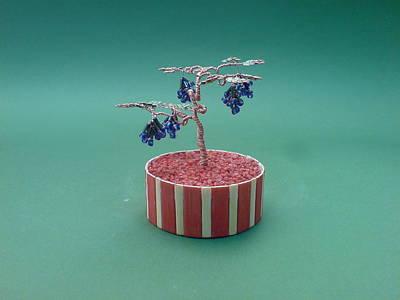 Ceramic Beads Sculpture - Bonsai Wire Tree Sculpture Beaded Grape      by Bujas Sinisa