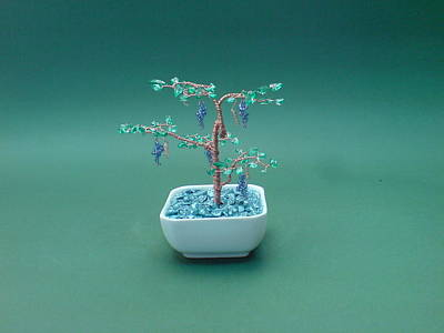 Ceramic Beads Sculpture - Bonsai Wire Tree Sculpture Beaded Grape Gems      by Bujas Sinisa