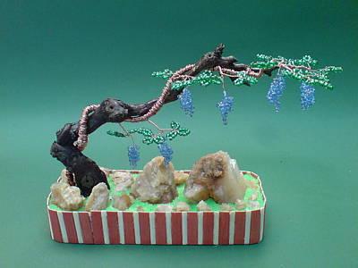 Ceramic Beads Sculpture - Bonsai Wire Tree Sculpture Beaded Grape Vineyard      by Bujas Sinisa