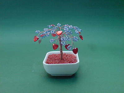Ceramic Beads Sculpture - Bonsai Wire Tree Sculpture Beaded Hearts  by Bujas Sinisa