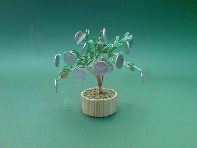Ceramic Beads Sculpture - Bonsai Wire Tree Sculpture Beaded Money      by Bujas Sinisa