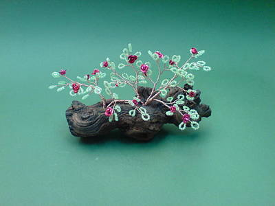 Ceramic Beads Sculpture - Bonsai Wire Tree Sculpture Beaded Roses      by Bujas Sinisa