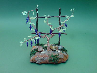 Ceramic Beads Sculpture - Bonsai Wire Tree Sculpture Beaded Vineyard      by Bujas Sinisa