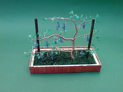 Ceramic Beads Sculpture - Bonsai Wire Tree Sculpture Beaded Vineyard Gems      by Bujas Sinisa