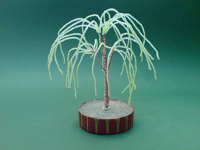 Ceramic Beads Sculpture - Bonsai Wire Tree Sculpture Beaded Willow      by Bujas Sinisa