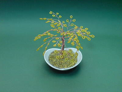 Ceramic Beads Sculpture - Bonsai Wire Tree Sculpture Golden Beaded      by Bujas Sinisa