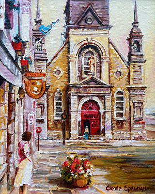 Montreal Street Life Painting - Bonsecours Church by Carole Spandau