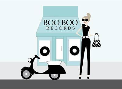 Store Digital Art - Boo Boo Records by Jodi Doughty