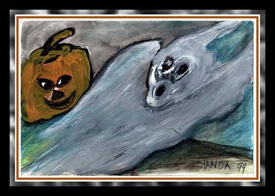 Painting - Boo Scared Ghost And Pumpkin by Katt Yanda