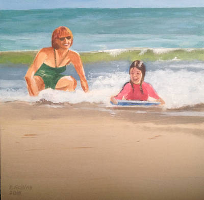 Kids Playing In Sand Painting - Boogie Board Baby by Donna Rollins