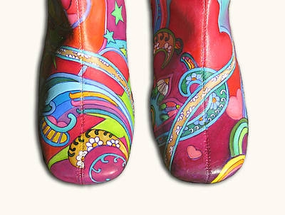 Peter Max Painting - Boogie Shoes by Mary Johnson