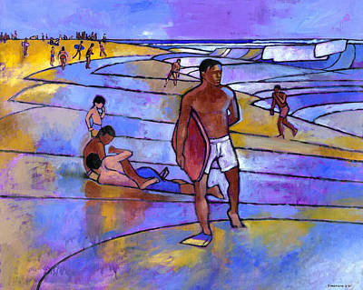 Hawaii Painting - Boogieboarding At Sandy's by Douglas Simonson