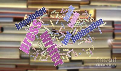 Photograph - Book And Publication Background And Wordcloud by Yali Shi