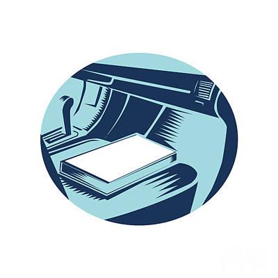Book On Car Seat Oval Woodcut Art Print by Aloysius Patrimonio