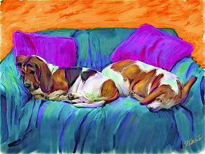 Basset Hounds Digital Art - Bookends by Karen Derrico