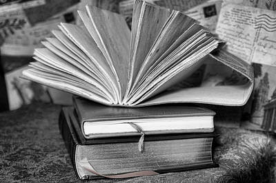 Photograph - Books In Black And White by Pamela Walton