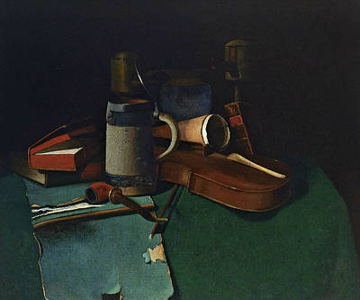 Books, Mug, Pipe And Violin Art Print by John Frederick Peto