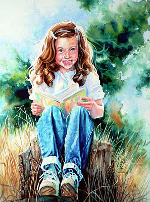 Action Portrait Painting - Bookworm by Hanne Lore Koehler