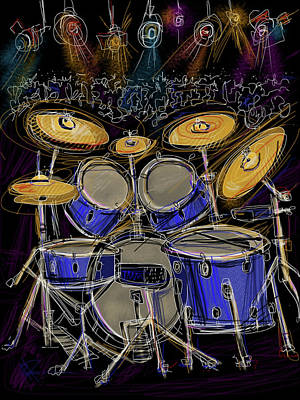 Drum Digital Art - Boom Crash by Russell Pierce