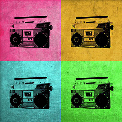 Boombox Mixed Media - Boombox Stereo Vintage Pop Art by Design Turnpike