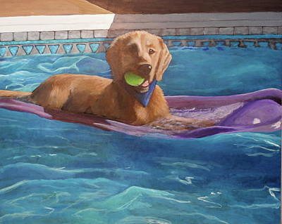 Dog With Tennis Ball Painting - Boomer by Carol Russell