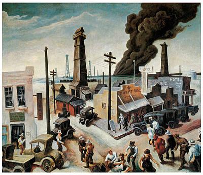American City Scene Painting - Boomtown by Thomas Hart Benton