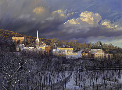 Church Street Painting - Boonton In Winter by David Henderson