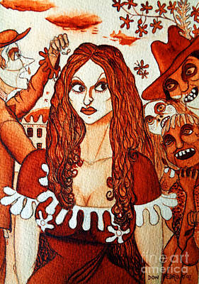 Art Print featuring the painting Boor People And Girl by Don Pedro De Gracia